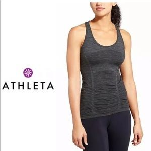 Athleta Breathe Ruched Space Gray Tank Top
